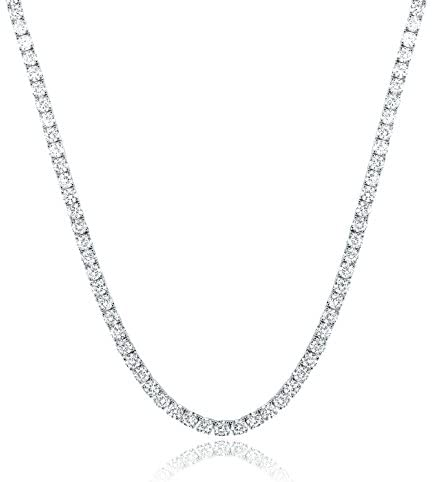 GEMSME 18K White Gold Plated 4.00mm Round Cubic Zirconia Classic Tennis Necklace 18 Inch: Jewelry
