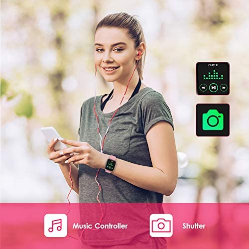 AMATAGE Smart Watch for Android Phones iPhone for Men Women, Fitness Tracker Watch with Heart Rate Oxyhemoglobin Saturation Monitor, Waterproof Activity Tracker with Sleep Monitor(Pink)