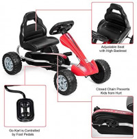 Costzon Kids Pedal Go Kart, 4 Non-Slip Wheel Ride on Car with Adjustable Bucket Seat, Pedal Powered Ride On Toys for Toddlers, Children-Oriented Ergonomic Design, Pedal Cart for Kids (Red): Toys & Games