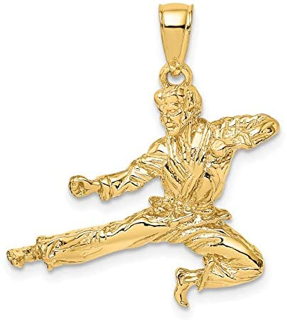 Solid 3-D 14k Yellow Gold Male Martial Arts Jump Kick Pendant 21x28mm: Jewelry