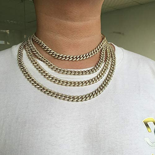 GOLD IDEA JEWELRY Cuban Link 14K Gold/White Gold Plated Chain Fully Iced Out Miami Cuban Link CZ (8.5-24 inches) (14k-Gold-Plated, 22)