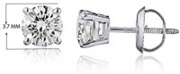 The Diamond Channel AGS Certified Diamond Earrings for Women in 14K White Gold with Screw Back and Post Studs (1/3 cttw, I1-I2 Clarity): Jewelry
