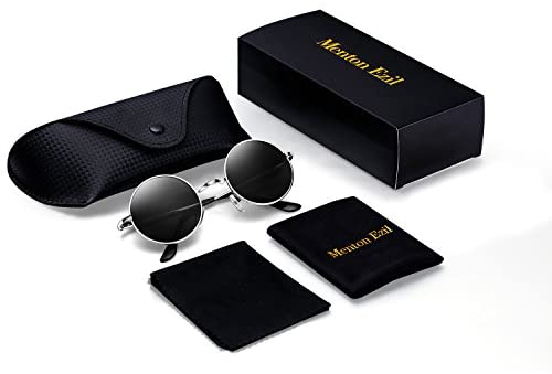 Menton Ezil Round Vintage Mirror Lenses UV protection Polarized unisex Small Hippie Syle Sunglasses for Men With Black Silver Metal Frame Black Lens ME8124: Clothing