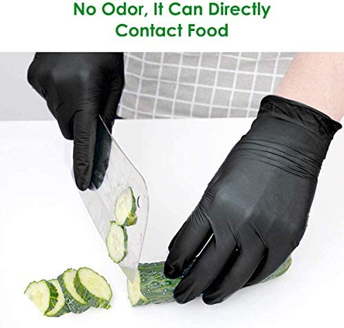 Nitrile Exam Gloves, Medical Grade,Disposable,Food Safe,Non Latex,Powder Free, 6 mil Thickness, Convenient Dispenser 100 Pack (Medium (Black)): Health & Personal Care