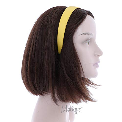 Yellow 1 Inch Wide Leather Like Headband Solid Hair band for Women and Girls: Beauty