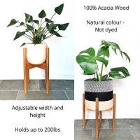 """Alfie and Gem Mid Century Plant Stand, Acacia Wood, Adjustable Planter 9""""- 12"""" Inch (Excluding Plant and Basket) Retro, Modern, Indoor Wooden Flower Pot Stand : Garden & Outdoor"""