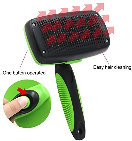 Bolux Pet Grooming Brush, Self Cleaning Slicker Brushes Hair Shedding Tools for Grooming Small, Medium & Large Cats and Dogs with Long Thick Hair