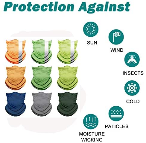 PESOENTH 9 Pack Headbands Colorful Headwear Scarf Sun Hat Neck Gaiter Headwrap Sport Sweatband Men Women Balaclava Outdoor for Dust Wind Proof, Anti-Spitting at Men's Clothing store