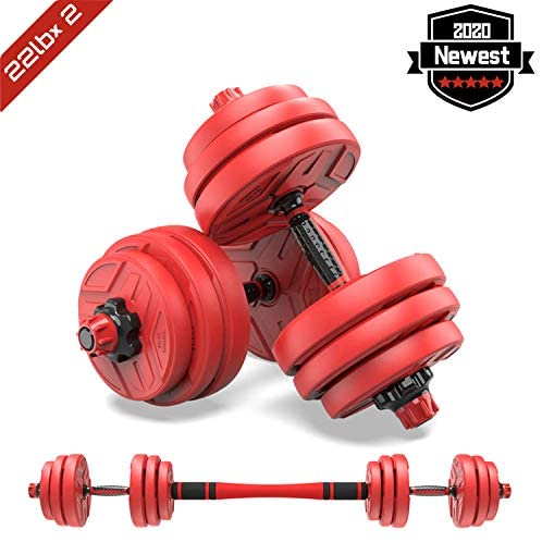 shanchar Adjustable Weights Dumbbells Set,Free Weights Dumbbells Set for Men and Women with Connecting Rod Can Be Used As Barbell for Home Gym Work Out Training 2Pair : Sports & Outdoors