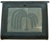 Country Rustic Primitive Bread Box Willow Tree Tin Wood: Kitchen & Dining