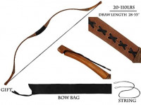 PG1ARCHERY Traditional Archery Recurve Bow Longbow Basic Handmade Pig Leather Horsebow Long Bow Left and Right Handed for Hunting Practice Target 60 lbs : Sports & Outdoors