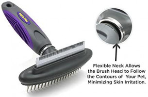 Hertzko Dog & Cat Comb and Deshedding Tool 2 in 1 Great Grooming Tool - Removes Loose Undercoat, Mats and Tangled Hair from Your Pet's Fur