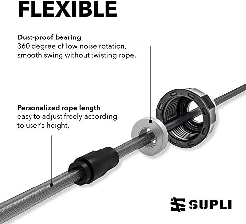 "SUPLI Skipping Rope Tangle-Free with Ball Bearings Rapid Speed Jump Rope Cable and 6"" Memory Foam Handles Ideal for Aerobic Exercise Like Speed Training, Endurance Training and Fitness Gym : Sports & Outdoors"