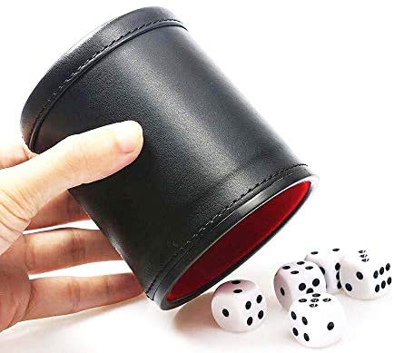 Jurxy PU Leather Dice Cup Red Felt Lined Dot Dices Quiet Shaker with 5 Dices for Bar Party Family Dice Games Playing -Black and Red: Toys & Games