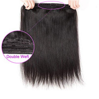 AMZTMY Brazilian Straight Hair 3 Bundles with Closure 100% Unprocessed Virgin Human Hair Bundles with 5×5 Lace Closure Remy Hair Weave Extensions Natural Color (10 12 14+10 Closure): Beauty