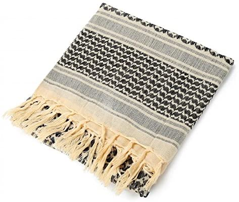100 percent Cotton Military Shemagh Arab Tactical Desert Keffiyeh Thickened Scarf Wrap for Women and Men, Beige, One Size at Men's Clothing store