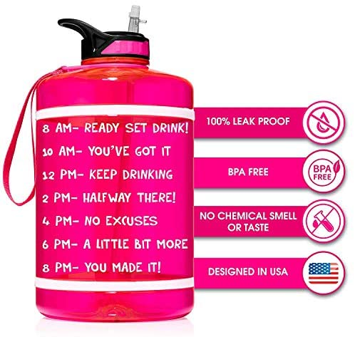 HydroMATE Half Gallon 64 oz Motivational Water Bottle with Time Marker Large BPA Free Jug with Straw & Handle Reusable Leak Proof Bottle Time Marked Drink More Water Daily Hydro MATE - Neon Pink : Sports & Outdoors
