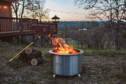Double Flame BREEO Smokeless Fire Pit (19 Inch) Grilling Bundle with Outpost Grill, Wood Burning Backyard Fire Pit Grill | Made in America : Garden & Outdoor