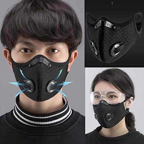 DeeLink Outdoor Sport Mask Reusable Activated Carbon Dustproof Respirator Safety Mask Respirator Activated Carbon Anti Cold Sports Mask Filter Bicycle Mask Mountain Bike Riding Mask (1) : Sports & Outdoors