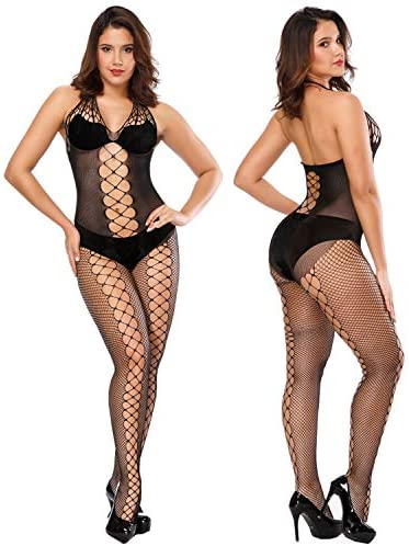 FEPITO 6 Set Women Stockings Lingerie Lace Fishnet Bodysuits for Lingerie Party Date Wearing: Clothing