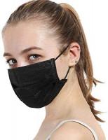 masite 10Pcs Unisex Black Disposable Soft Breathability Earloop Face Dresses: Clothing