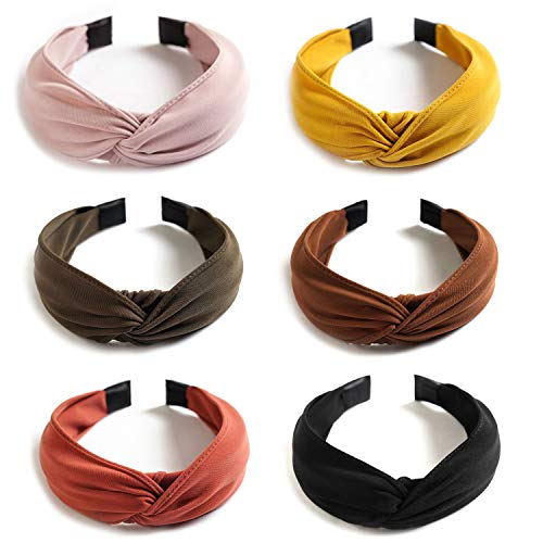 6 Pack Wide Plain Headbands, Unime Twist Knot Turban Headband Yoga Hair Band Fashion Elastic Hair Accessories for Women and Girls, Children 6 Colors : Beauty