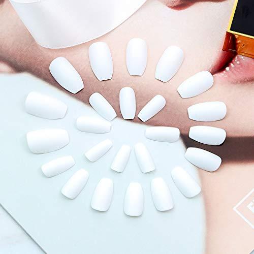 Edary Matte Fake Nails Full Cover Medium Ballerina White False Nails 24Pcs Coffin Art Tips for Women : Beauty