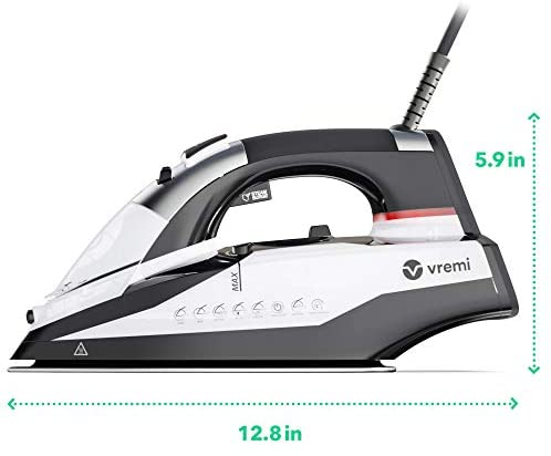 Vremi 1800 Watt Steam Iron for Clothes - Nonstick Ceramic Sole Plate, 350 mL Water Tank, 8 Foot Power Cord, 3 Way Auto Shut Off and Self Cleaning Function: Home & Kitchen