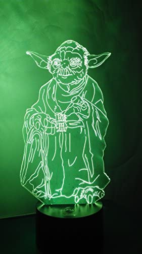 Master Yoda 3D Night Light LED Illusion Lamp Bedside Desk Table Lamp, Loveboat 7 Color Changing Lights with Acrylic Flat & ABS Base & USB Charger as Home Decor and A Best Gift