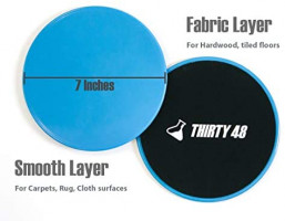 Thirty48 Gliding Discs Core Sliders and 5 Exercise Resistance Bands | Strength, Stability, and Crossfit Training for Home, Gym, Travel | User Guide & Carry Bag (Blue (Core Slider)) : Sports & Outdoors