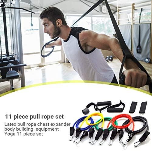 11 Pack Resistance Bands Set, Isolation Belt Set-Adjustable Pulling Force, Fitness Elastic Rubber Rope for Home Workouts, Physical Therapy, Gym Training, Yoga : Sports & Outdoors