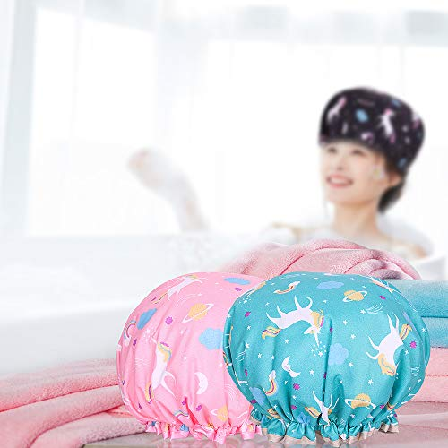 Shower Cap Microfiber Bath Cap - Shower Bonnet Designed for Women and Girls Waterproof Caps Reusable Double Layer Bath Accessories (4 Pack) : Beauty