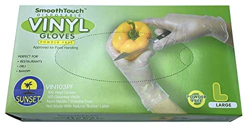 Sunset Powder Free Vinyl Gloves (Large): Health & Personal Care