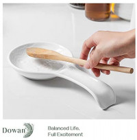 DOWAN 2 Packs Porcelain Owl Spoon Rests, 9.5-inch White Resting Cooking Spoons or Utensils: Kitchen & Dining