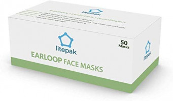 500pcs Litepak Disposable Face Mask Thickness Comfort Earloops Blue: Health & Personal Care