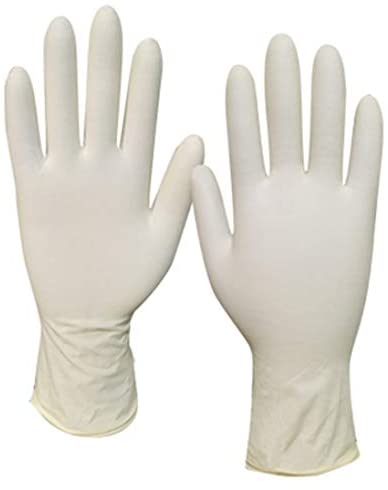 Latex Disposable Gloves Powder Free Exam Gardening Cooking Cleaning 100PCS DN1002 (Ivory-M): Health & Personal Care