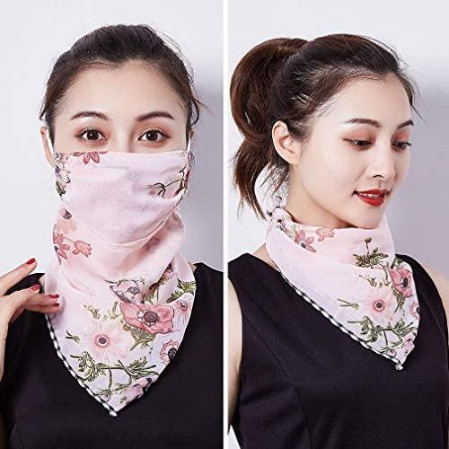 EOZY 3pcs/Set Women Sun Face Mask Chiffon Earloop Neck Gaiter Scarf Bandanas UV Protection Dustproof Face Sun Mask at Women's Clothing store
