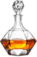 FineDine European Style Glass Whiskey Decanter & Liquor Decanter with Glass Stopper, 30 Oz.- With Magnetic Gift Box - Aristocratic Exquisite Diamond Design - Glass Decanter for Alcohol Bourbon Scotch.: Liquor Decanters