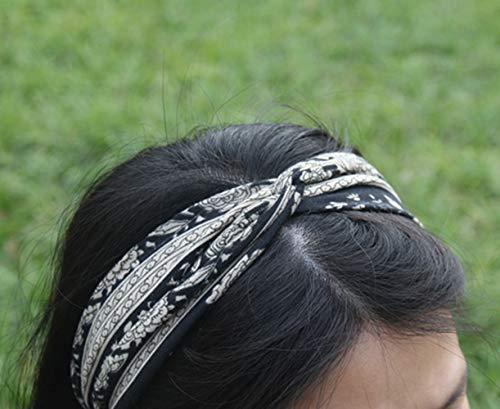 Yeshan Knot Bandana Headbands for Women Boho Paisley Twisted Headbands Retro Flower Printed Elastic Criss Cross Hairband for Girls, Pack of 6 : Beauty
