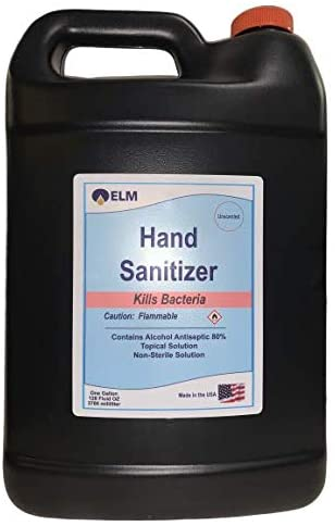 ELM - Instant Liquid Hand Sanitizer - 80% Ethyl - Advanced Natural Hand Sanitizer Cleaner Refill (1 Gallon): Health & Personal Care