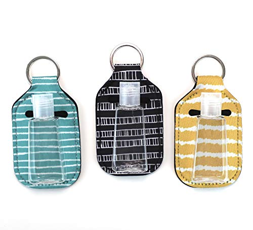 Zario Empty Travel Size Bottle and Keychain Holder - Refillable Bottles for Soap, Lotion, and Liquids - 30 ML Flip Cap Reusable Bottles with Keychain Carriers (stripes) : Beauty