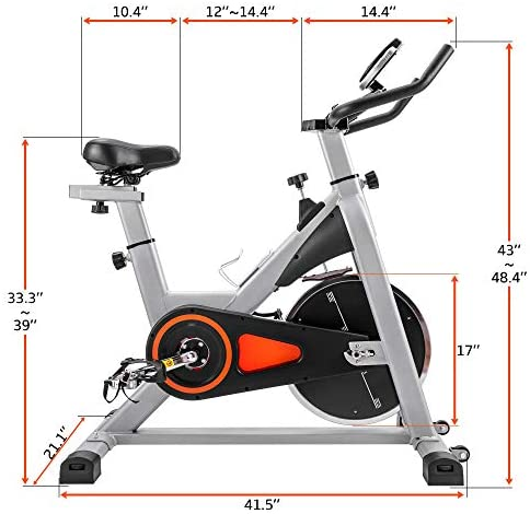 Indoor Cycling Bike Stationary, Belt Driven Smooth Exercise Bike with Oversize Soft Saddle and LCD Monitor for Home Cardio Workout (Black+Orange) : Sports & Outdoors