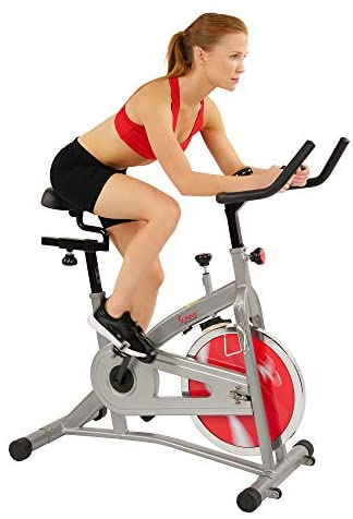 Sunny Health & Fitness Indoor Cycling Stationary Spin Exercise Bike with LCD Display, 30 LB Flywheel - SF-B1421C, Gray : Sports & Outdoors