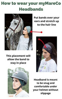 myMareCo Equestrian Headbands for Women, Sportswear for Under Horse-Riding Helmet, Wide Hair Band Suitable for Yoga, Biking, Hiking (2 Pack) : Sports & Outdoors