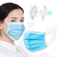 ABFIRE Non-Woven Fabric 3 Ply Disposable face Covers, Blue, Mouth Masks, 50COUNT: : Industrial & Scientific