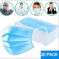 SAFE-T-MASK 3-PLY Disposable mask with ear loops, Breathable Non-woven Dust Filter Face Mask, Breathable and Comfortable for Dust, Pollen Allergens 20 Pack