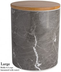 DII CAMZ38970 WHITE MARBLE CERAMIC CANISTER SET/3: Home & Kitchen