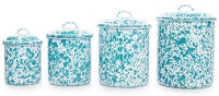 Enamelware Canister Set, 4 piece, Vintage White/Turquoise: Kitchen & Dining