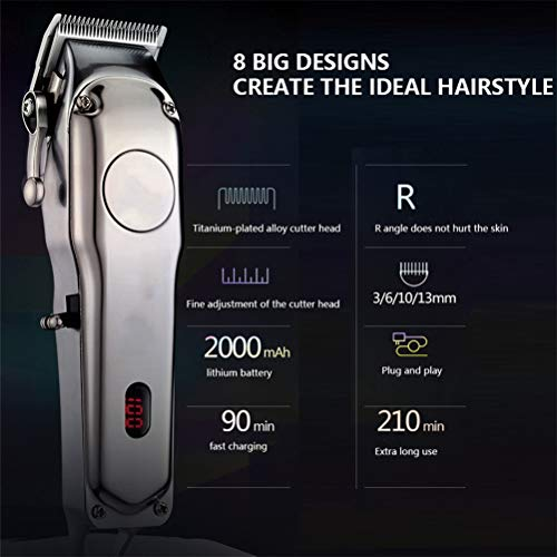 Hair Clipper Cordless,Hair Clippers Set Profession,LCD Digital Display Full Metal Body 4 Gears Adjustable 2000 Mah Rechargeable Silent Work: Beauty