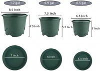 Livelyhom Plant Pots with Saucers - 0.9 Gallon 7.5 Inch Plastic Dark Green Set of 6, Root-Control Nursery Seedling Planter Garden Flower Pot Container for Indoor Outdoor Bonsai Plants, Aloe, Herb: Home & Kitchen